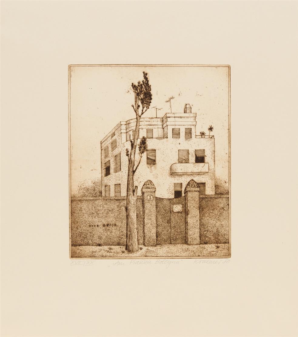 Dieter Kraemer. Villa Massimo Rom.1980. Mappenwerk mit 6 Blatt Radierungen. Signiert. Ex. XVII/XX.