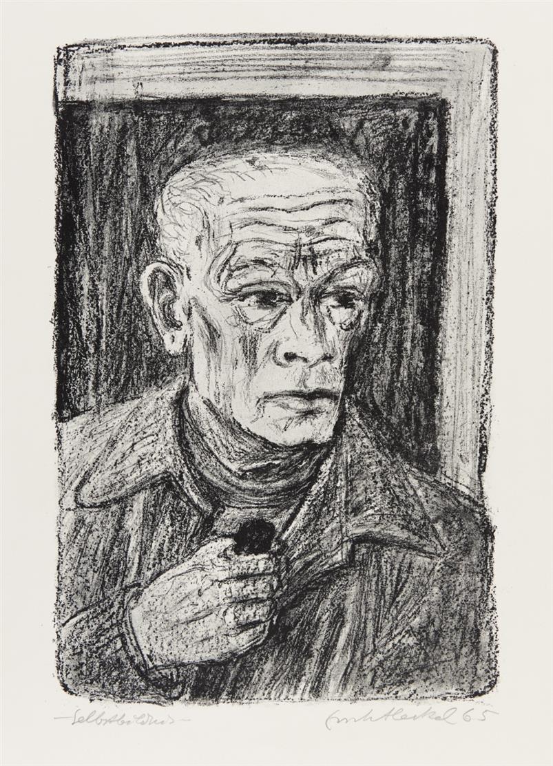 Erich Heckel. Selbstbildnis. 1965. Lithographie. Signiert. Eines von 33 Ex. Dube 382.
