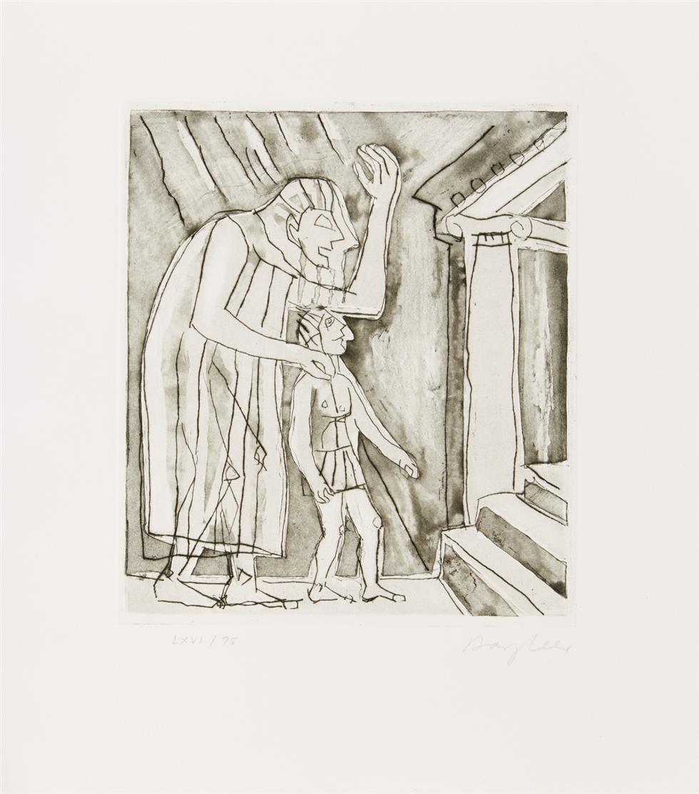 Eduard Bargheer. Antigone des Sophokles. 1967. Mappe mit 10 Blatt Radierungen. Signiert. Ex. LXVI/75.