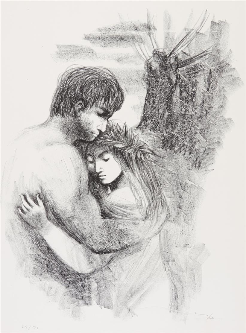 H. Nagel, Daphnis und Chloe. 7 OrLithos mit Textbeigabe von G. Bartels. München 1972. - Ex. 65/70.