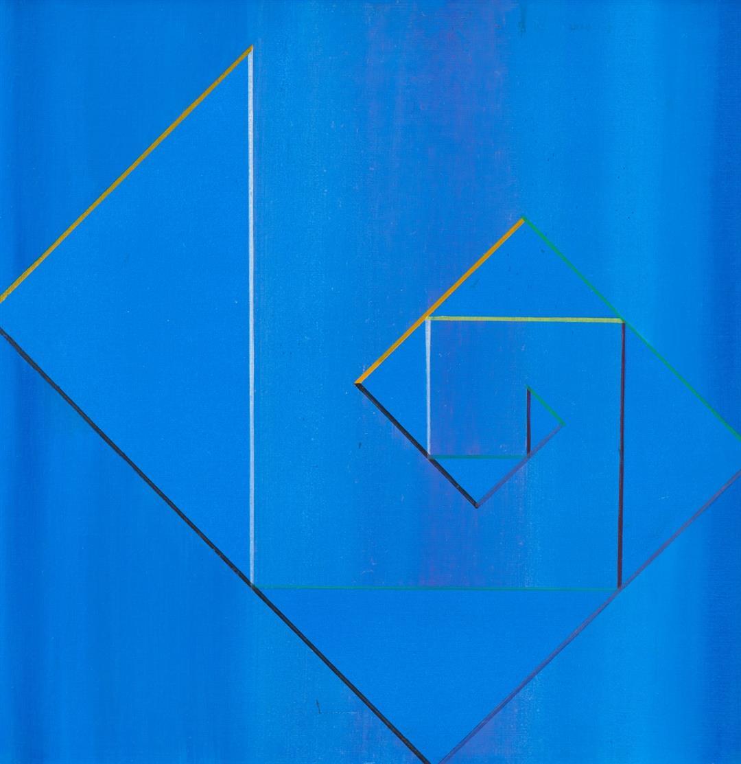 Heijo Hangen. Rechteck aus 7 Dreiecken. 1960. Öl auf Hartfaser.