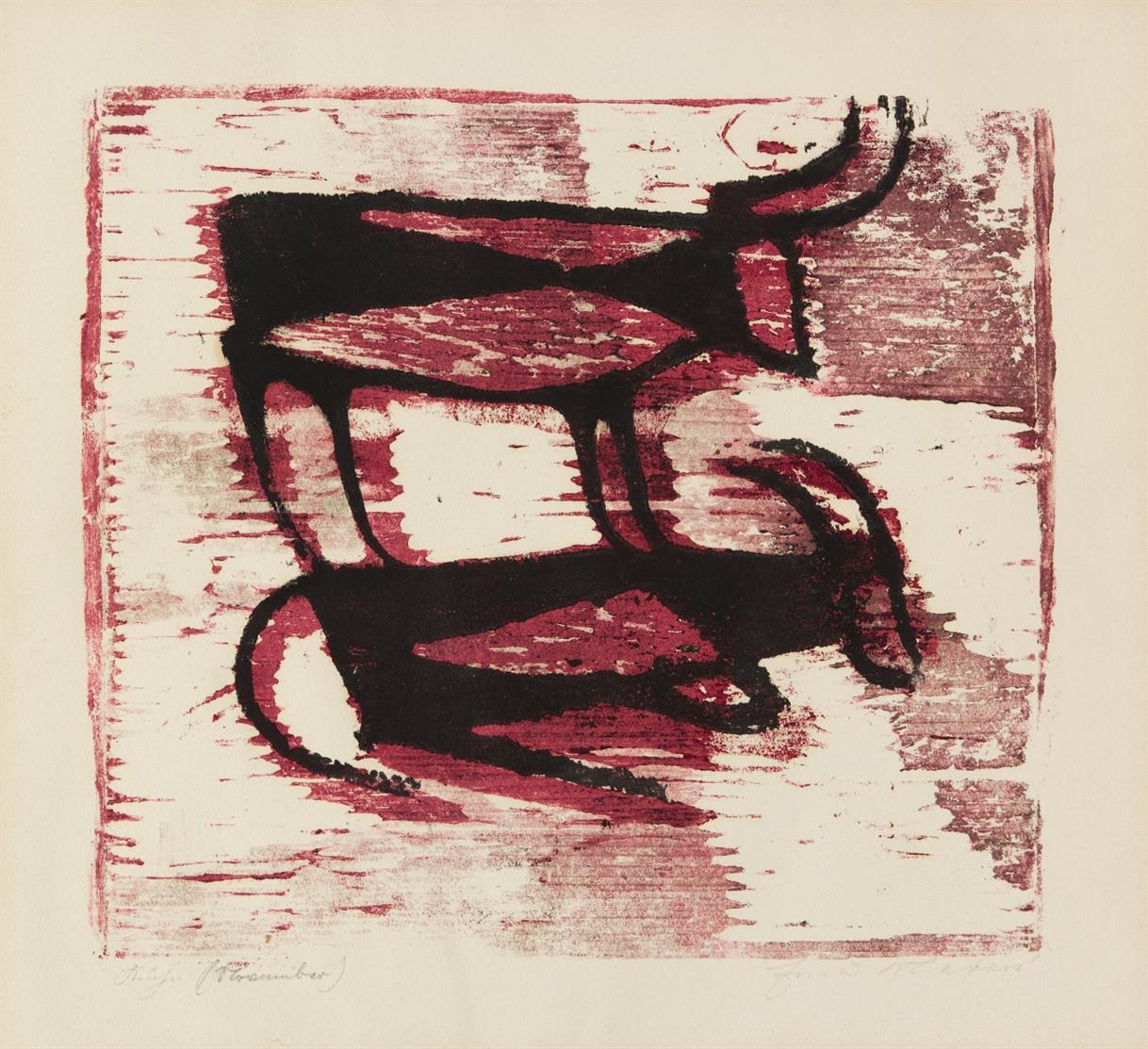 Ewald Mataré. Kühe (November). 1955. Farbholzschnitt. Signiert. Mataré/de Werd 401.
