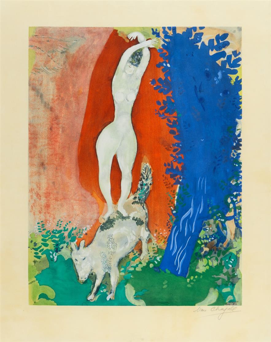 Marc Chagall. Femme du Cirque. 1960. Farblithographie. Signiert.