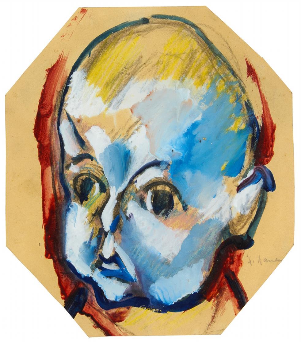 Heinrich Nauen. Kinderkopf (Joachim Nauen). Um 1919. Aquarell, Gouache und Bleistift. Signiert. wohl WVZ 1191.
