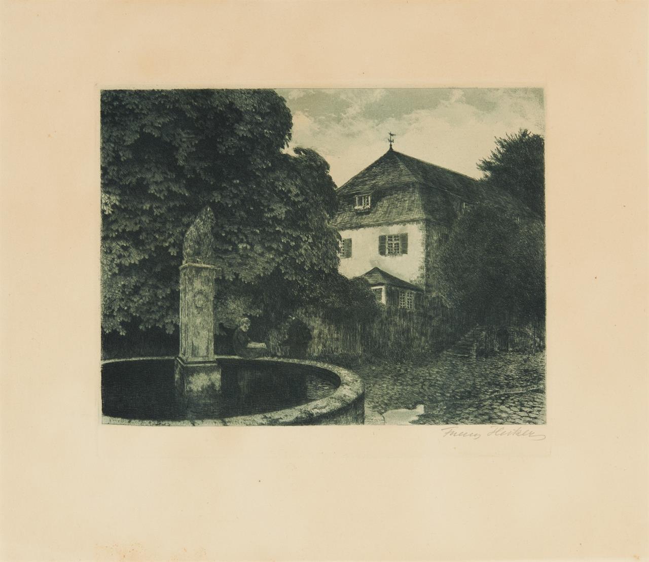 Franz Hecker. Am Brunnen. (1909). Radierung in Grüngrau. Signiert.