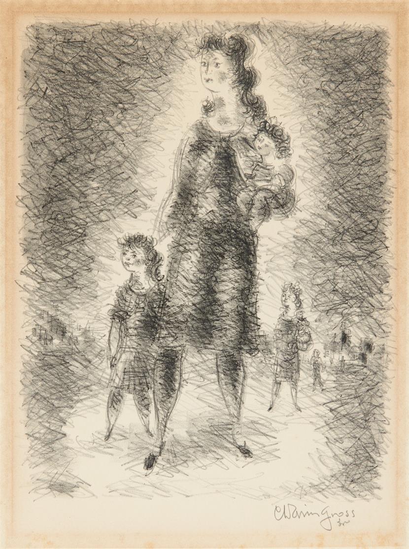 Chaim Gross. Mütter mit Kindern. Lithographie. Signiert.