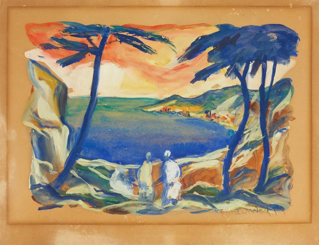 Franz Heckendorf. Meeresbucht. 1917. Aquarell und Gouache. Signiert.