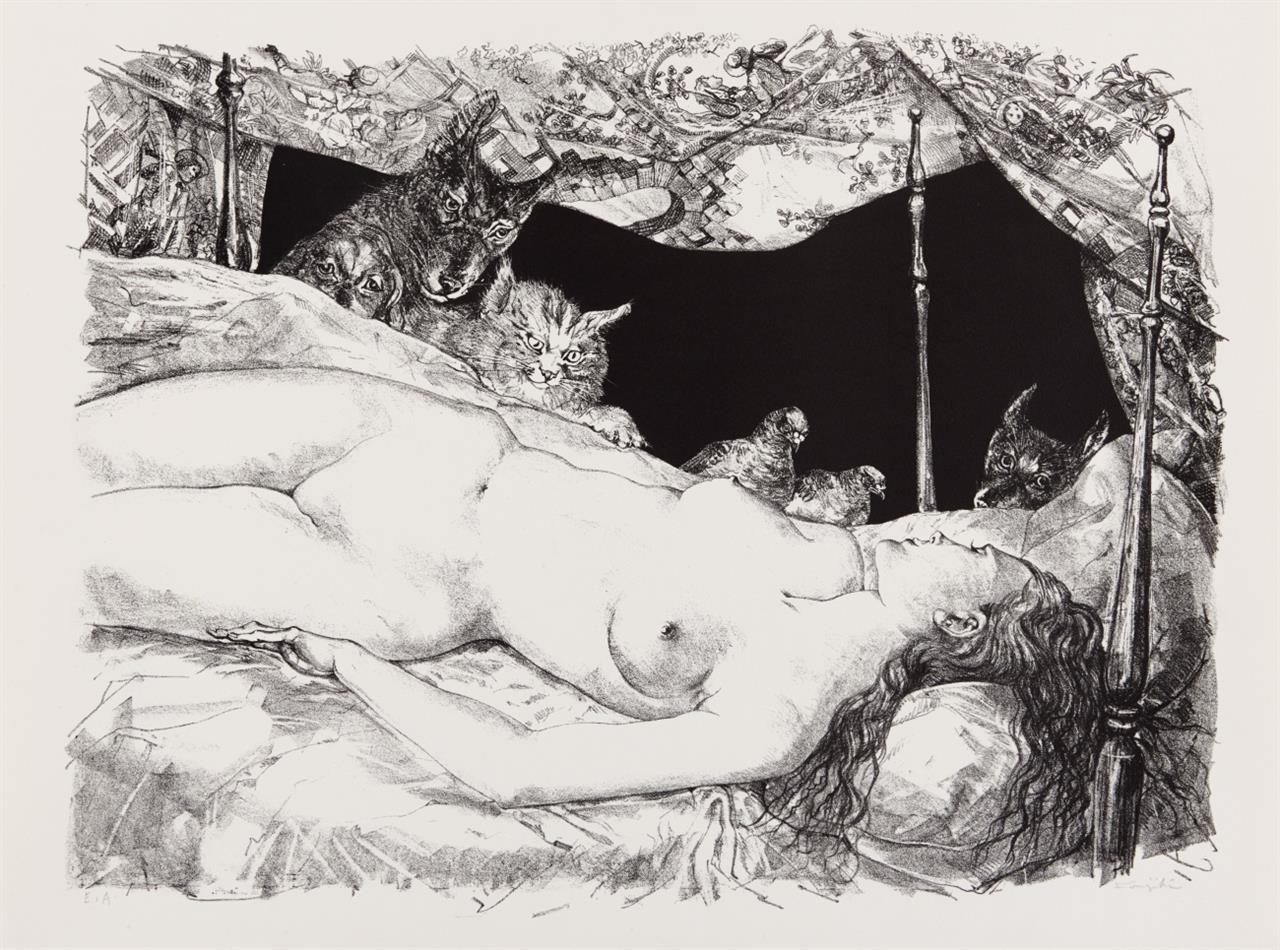 T.-E. Foujita. Weiblicher Akt mit Tieren. Lithographie. Signiert. Ex. E.A.