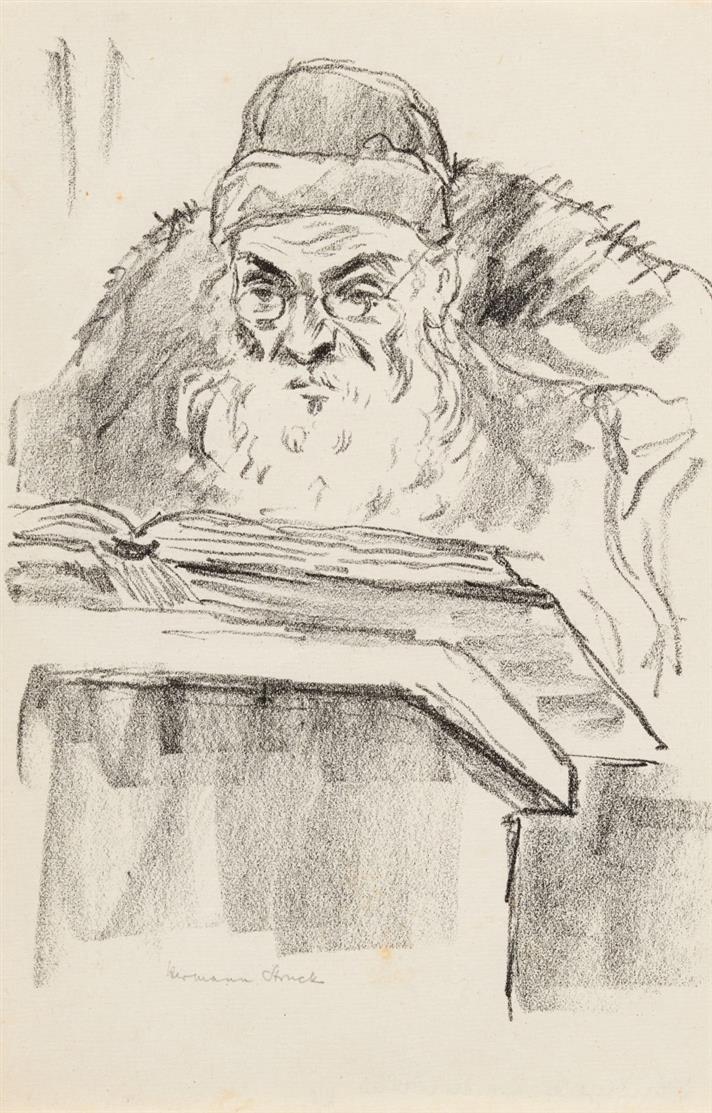Hermann Struck. Lesender Jude, Ältere Bauern, Student etc. 6 Blatt Lithographien. Je signiert.