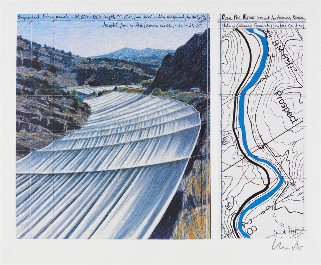 Christo. Over the River, Project for the Arkansas River. 1999. Farboffset. Signiert.