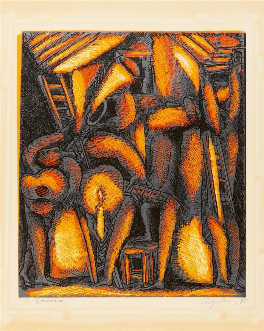 Simon Shegelman. Serenade. 1975. Farblithographie. Signiert. Ex. 3/5.