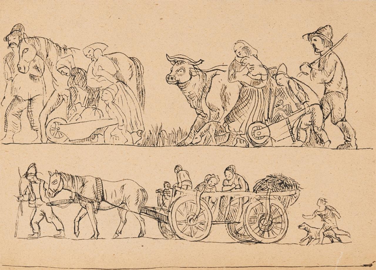 Béla Kádár. Bauernzug mit Familie, Vieh und Fuhrwerk. Feder.