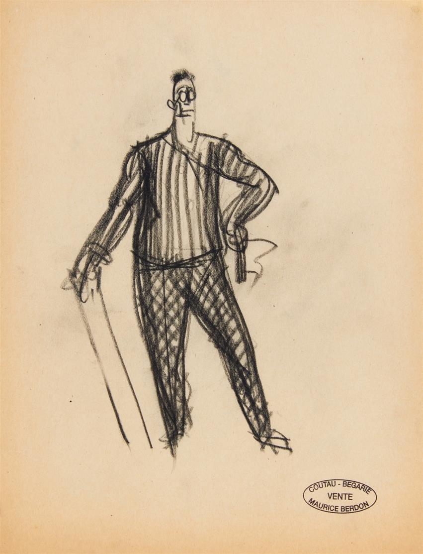 Maurice Berdon. Trinker / Trinkgesellschaft (2) / Dandy. 4 Blatt Kohlezeichnungen. Je mit Stempel.