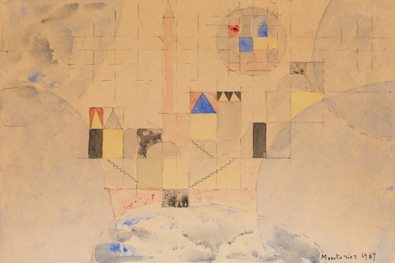 François Montanier. Abstrakte Landschaft. 1969. Aquarell und Bleistift. Signiert.