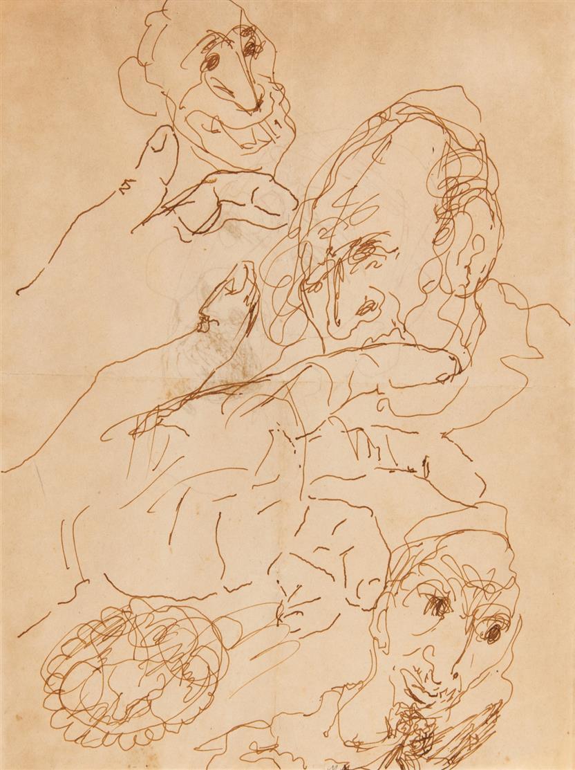 Emmanuel Mané-Katz. Kopf- und Handstudien. Federzeichnung.