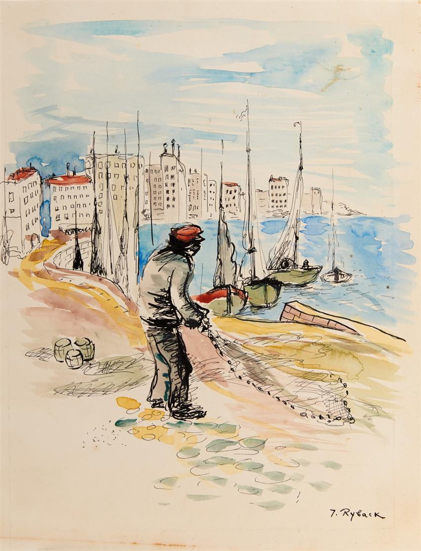 Issachar Ber Ryback. Fischer am Ufer. 1930/40er Jahre. Aquarell und Tusche. Signiert.
