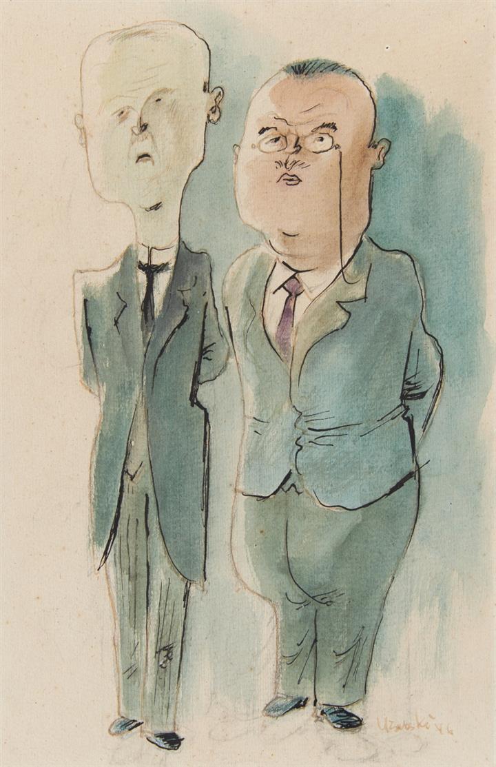 Adolf Uzarski. Bürokraten. 1946. Aquarell und Tusche. Signiert.