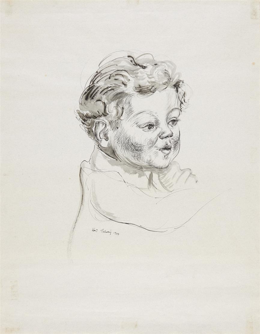 Karl Schwesig. Kinderbildnis. 1949. Tuschfeder, laviert. Signiert.