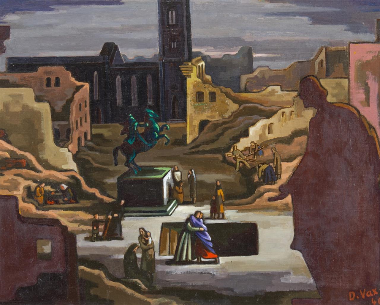 Dore Meyer-Vax. Impression 1945. 1946. Öl auf Leinwand. Signiert.