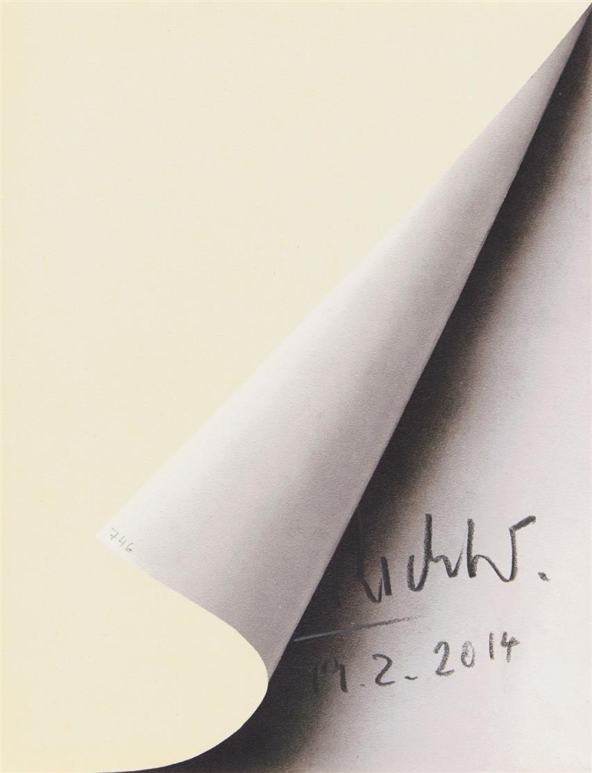 Gerhard Richter. Blattecke 19.2.2014. Offset in Grau und Elfenbein. Signiert. Vgl. Butin 11.
