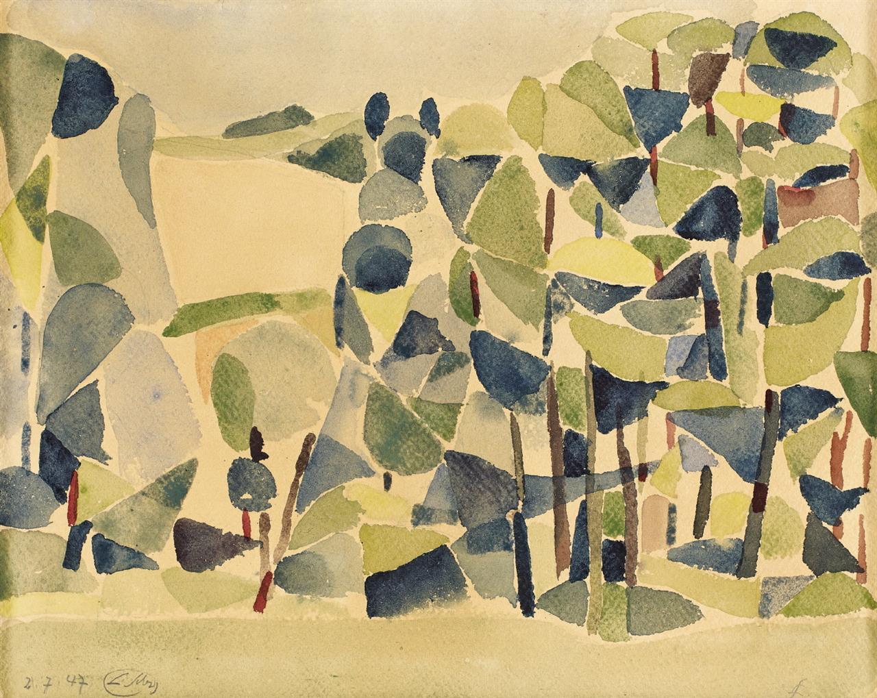 Ludwig Gabriel Schrieber, Wylerberg, 1947, Aquarell, sign.