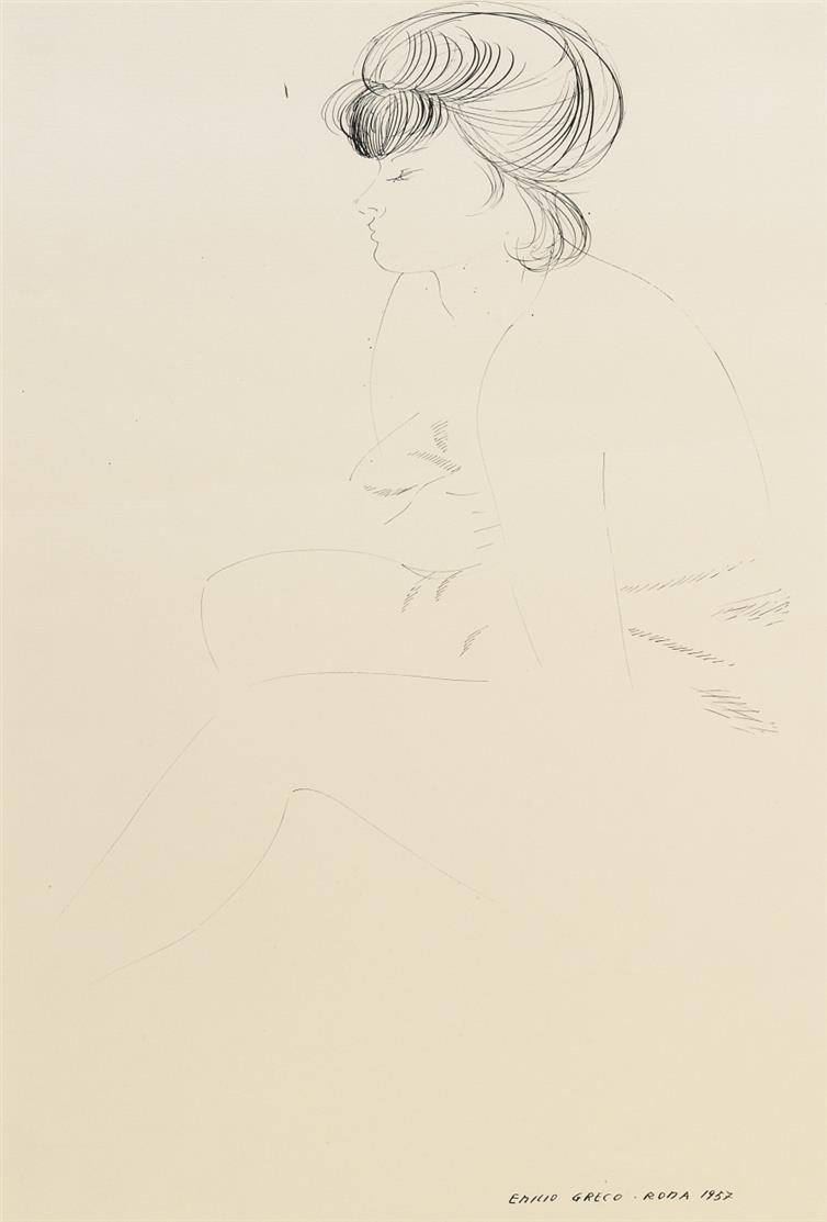 Emilio Greco. Weiblicher Akt. 1957. Federzeichnung. Signiert.