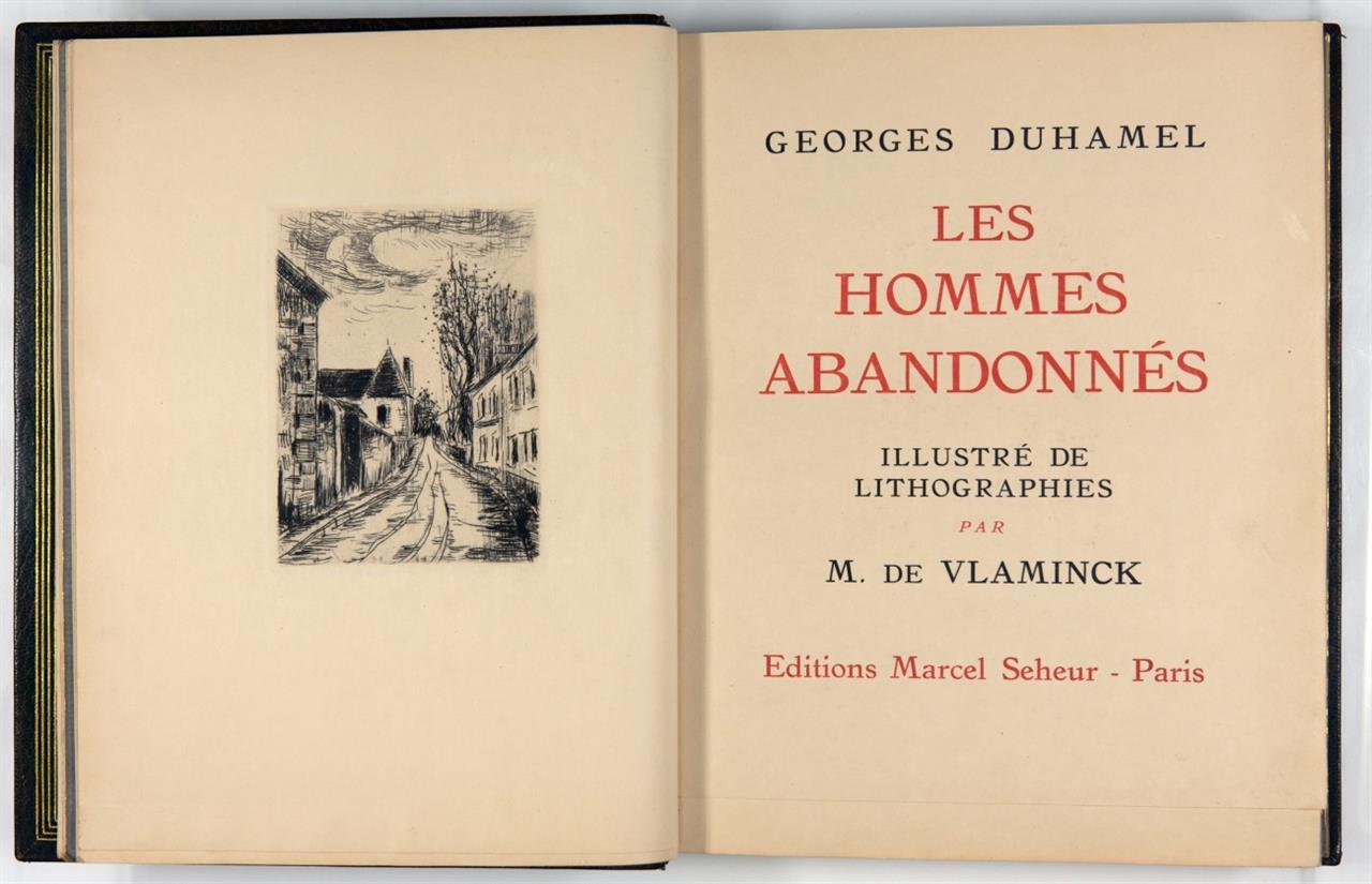 G. Duhamel / M. de Vlaminck, Les Hommes abandonnés. Paris 1927. - Ex. 5/25 mit Suite.