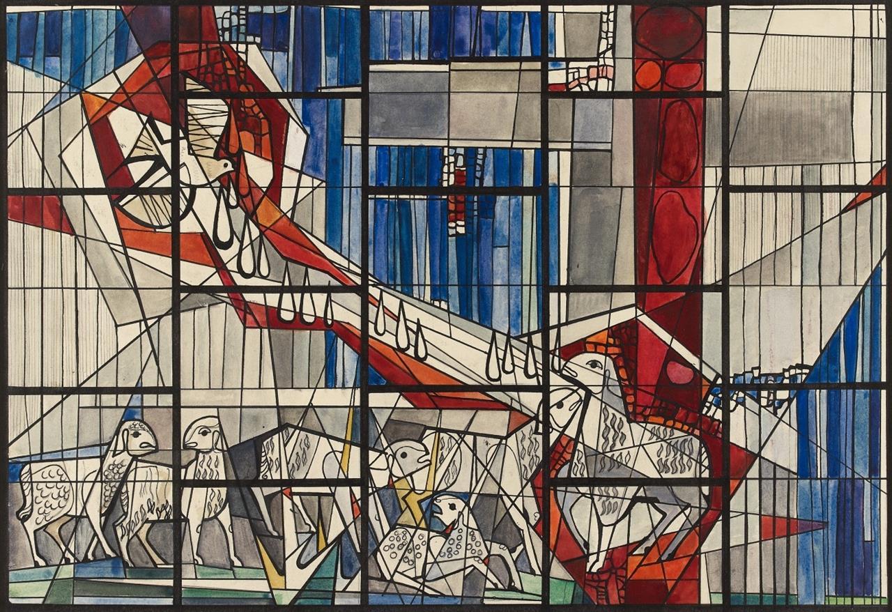 Victor Bonato. Für Peter Dohmen. Good Shepherd Church, Duluth MN. 1961. Glasfensterentwurf. Aquarell, Tusche und Bleisitft. (DSC03965)
