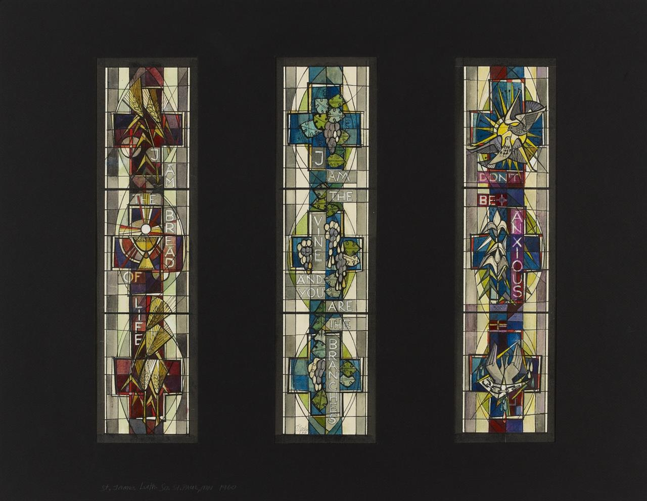 Victor Bonato. Für Peter Dohmen. St. James Lutheran Church, St. Paul MN. 1966. 3 Bl. Glasfensterentwürfe. Aquarell und Tusche. Signiert. (DSC04004)