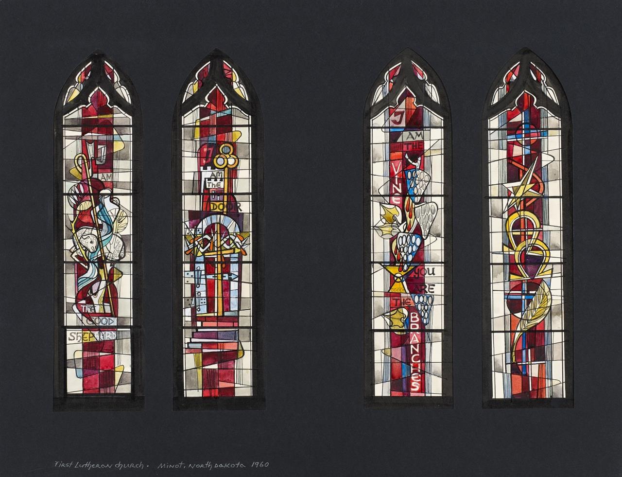 Victor Bonato. Für Peter Dohmen. First Lutheran Church. Minot North Dakota. 1960. 8 Glasfensterentwürfe. Aquarell und Tusche, in 2 Passepartouts. (DSC 03996 + DSC 03998)