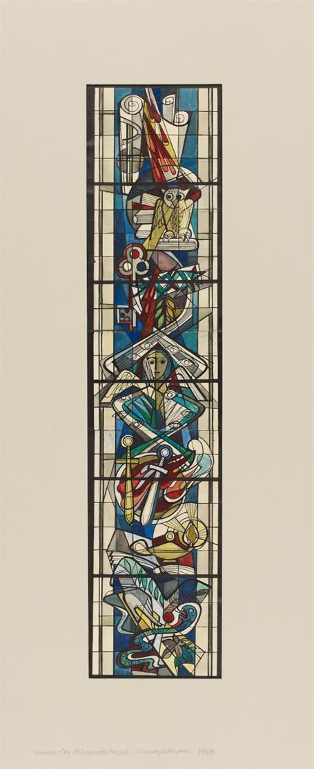 Victor Bonato. Für Peter Dohmen. University of Minnesota Chapel, Minneapolis MN. 1958. Glasfensterentwurf. Aquarell und Tusche. (DSC04073)