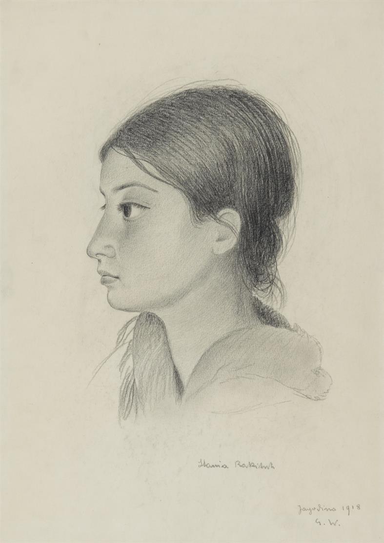 G. Wunderwald. Mädchenbildnis im Profil nach links (Stannia Rakitsch). 1918. Monogrammiert.