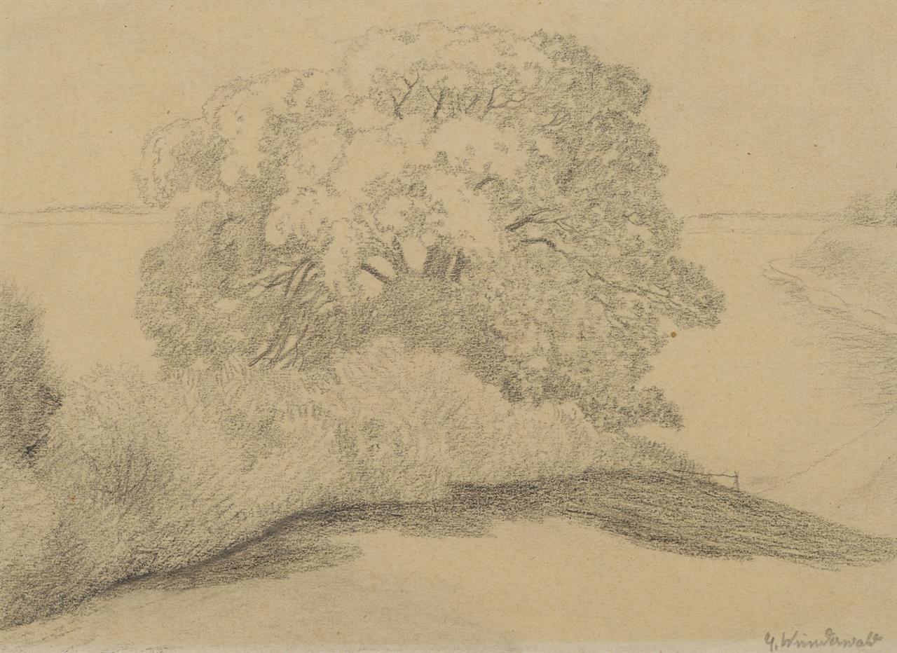 G. Wunderwald. Landschaft mit zentralem Baum. Bleistift. Signiert.