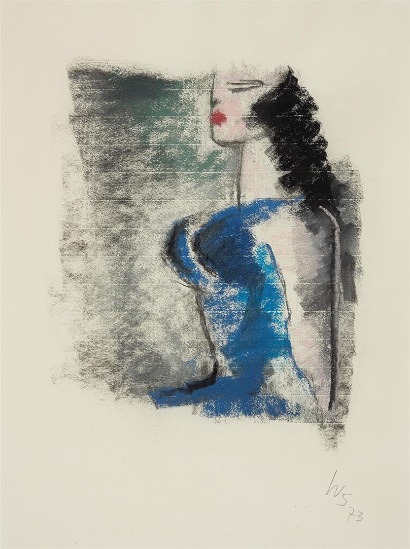 W. Scholz. Ohne Titel (Frau in blauem Kleid). 1973. Farbkreide. Monogrammiert.