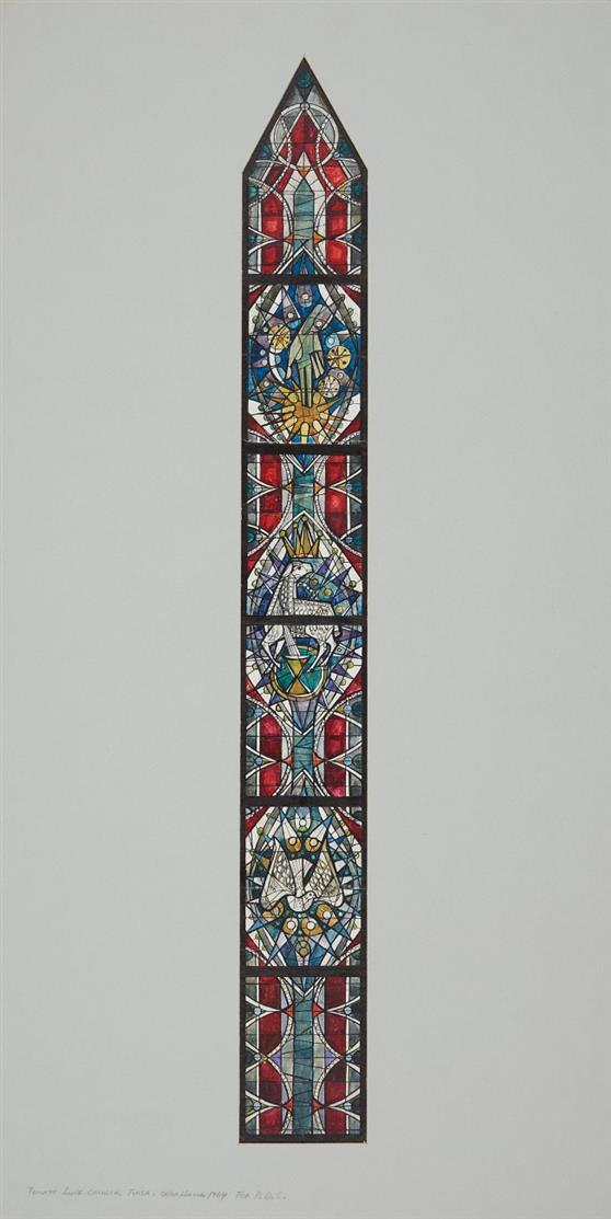 Victor Bonato. Für Peter Dohmen. Trinity Church, Tulsa Oklahoma. 1964. Glasfensterentwurf. (DSC0491)
