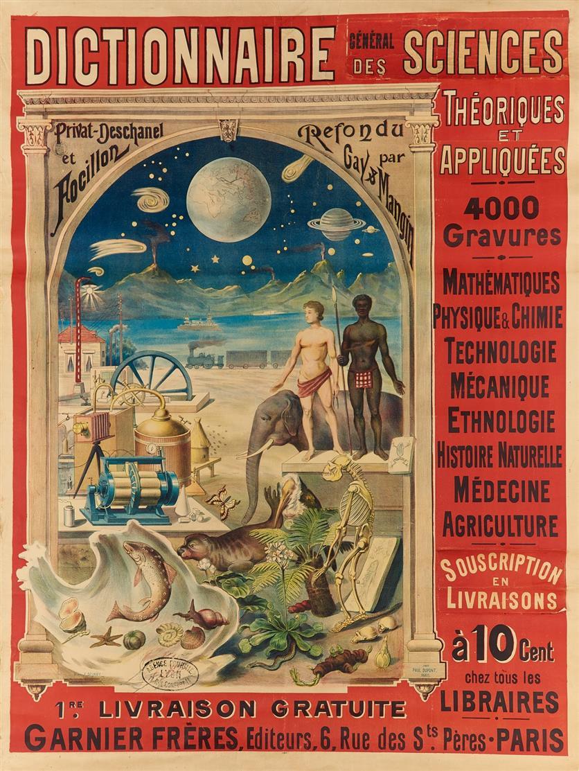 F. Besnier. Dictionnaire général des Sciences ... Fablithographie, um 1900. Plakat.