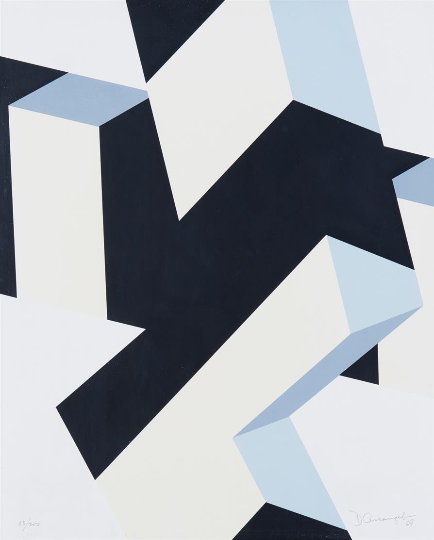 Allan d'Arcangelo. Ohne Titel (Geometrische Komposition). 1969. Farbsiebdruck. Signiert. Ex. 33/200.