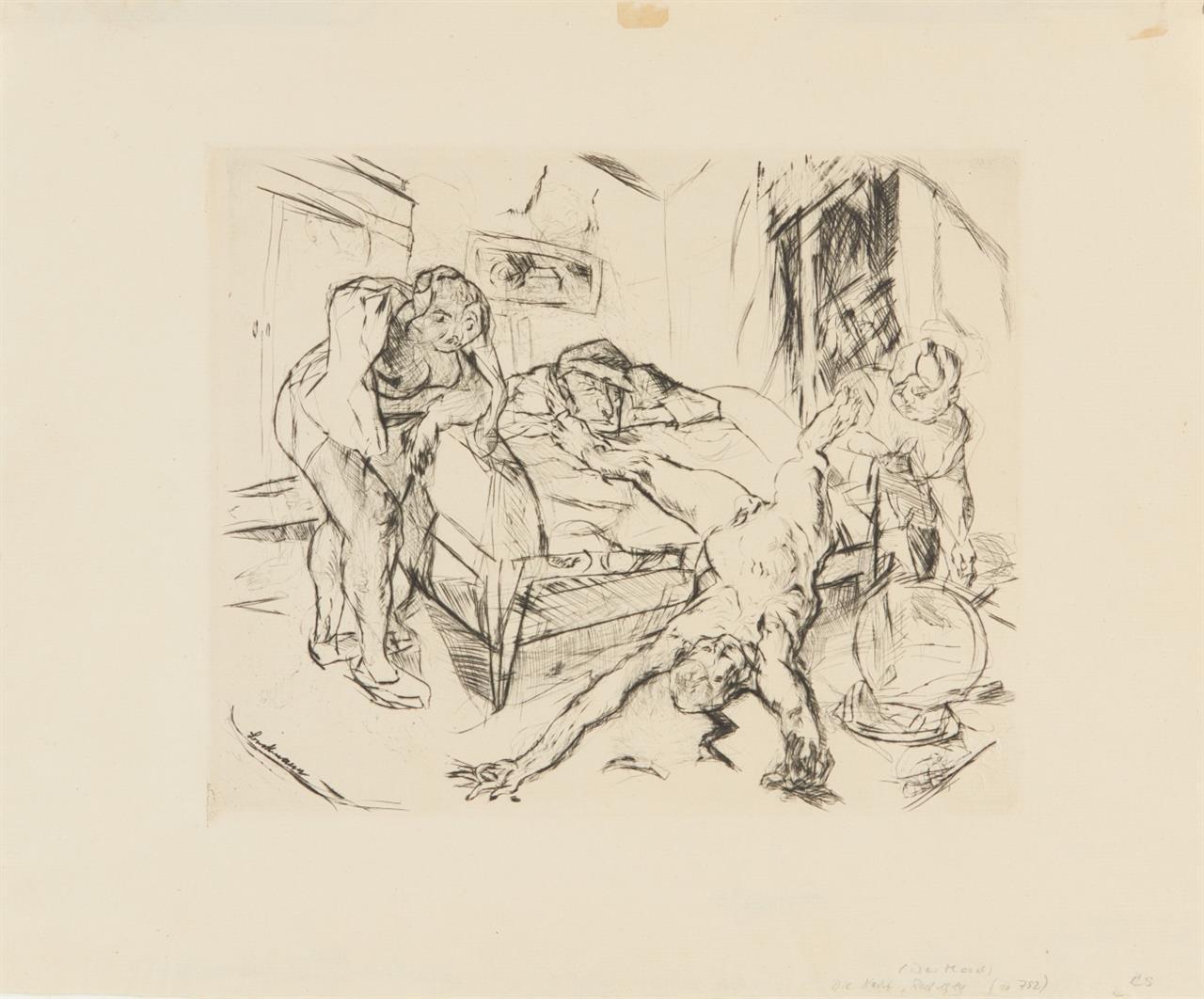 Max Beckmann. Die Nacht (aus: Shakespeare-Visionen). 1914. Kaltnadelradierung. Eines von 150 Ex.
