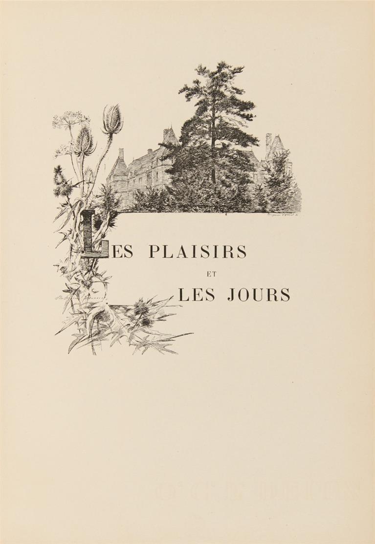 M. Proust. Les plaisirs et les jours. Paris 1896. - Erste Buchpublikation Prousts.