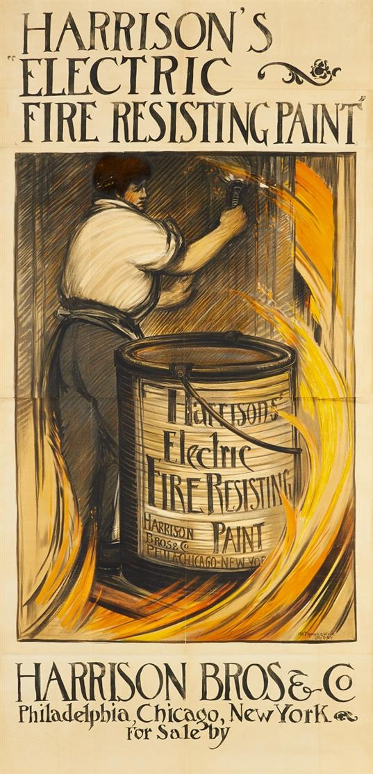 (Anonym). Harrison's Electric Rife Resisting Paint. Um 1895. Plakat.