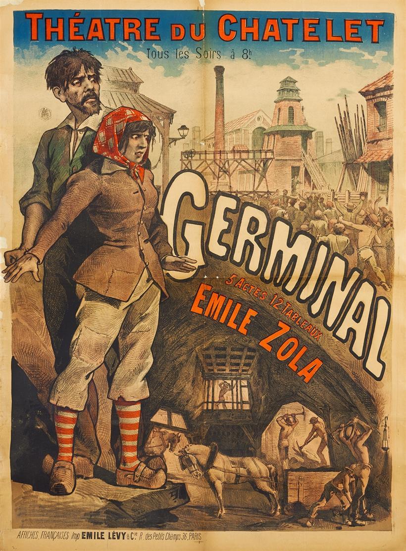 Emile Lévy. Germinal Emile Zola. Plakat.