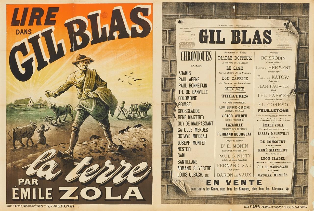 (Anonym). Lire Dans Gil Blas, la terre par Émile Zola. Plakat.