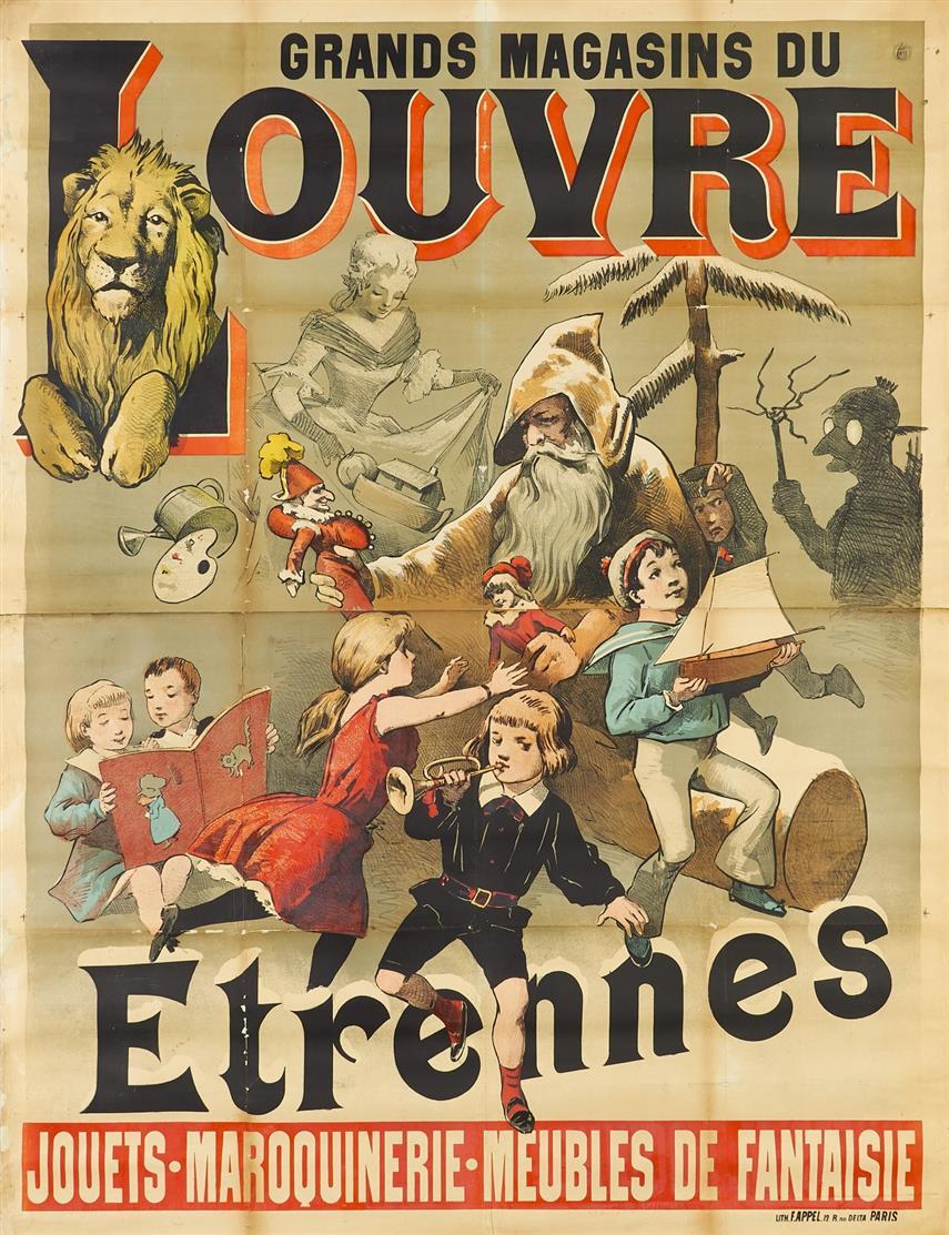 Adolphe Léon Willette. Grands Magasins du Louvre - Etrennes ... 1880-1900. Plakat.