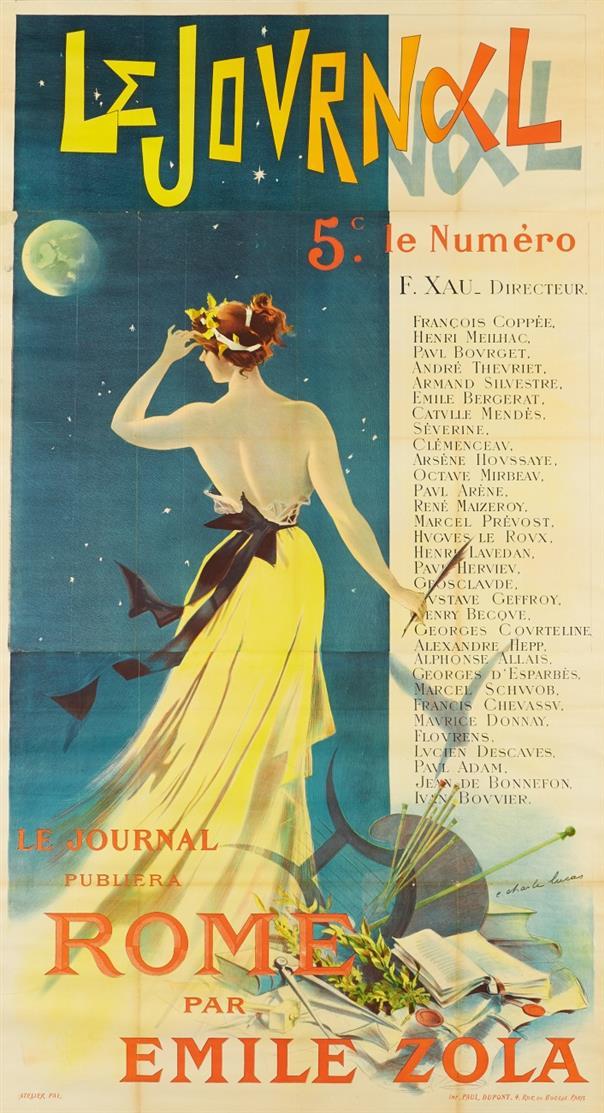E. Charle Lucas. Le Journal Rome par Emile Zola. Plakat.