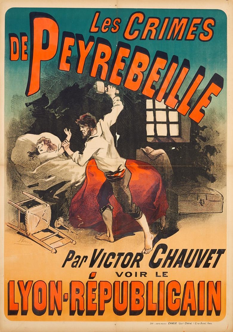 Jules Chéret. Les Crimes de Peyrebeille par Victor Chauvet. 1885. Plakat.