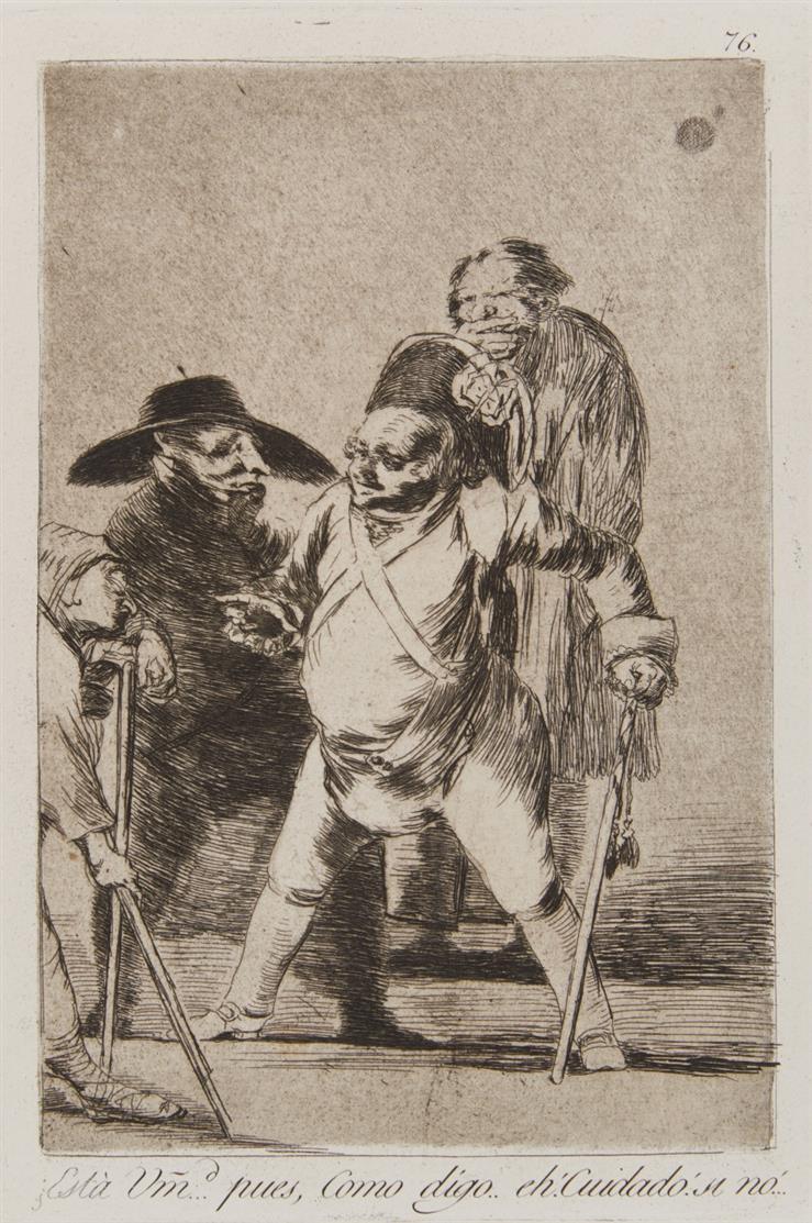 Francisco de Goya. Esta um.d ... Pues, como Digo ...  (aus: Caprichos). Aquatintaradierung. Harris 111 III, 4-12.