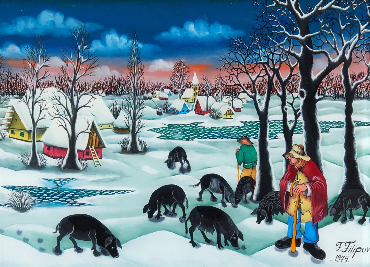 Franjo Filipovic. Schweinehirte im Schnee. 1974. Hinterglasbild. Signiert.