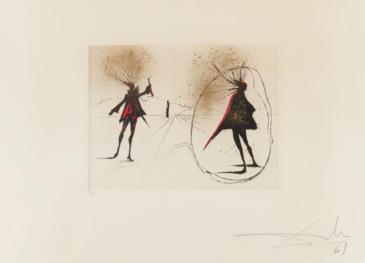 Salvador Dali. Salut à Mephisto. 1969. Kolorierte Radierung. Ex. 41/250. M/L 319; F. 68-5.