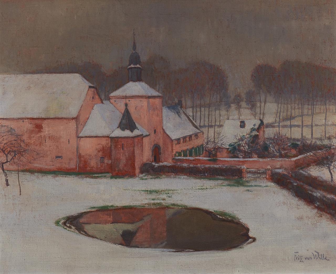 Fritz von Wille. Die rote Ferme (Brabant). Öl auf Leinwand. Signiert.