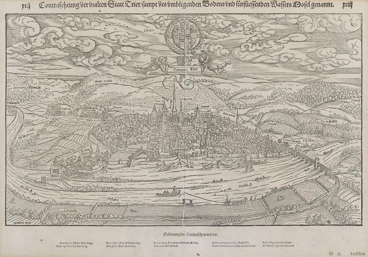 Trier. Contrafehtung der uralten Statt Trier ... Gesamtansicht. Holzschnitt aus Seb. Münster.